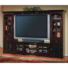 Flat Screen Tv Wall Cabinet by Large Dark Brown Wooden Entertainment Center With Glass Doors And