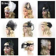 1920s hair accessories 2018 women feather headband hair accessories rhinestone beaded