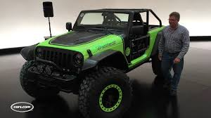 jeep unveils seven new concepts jeep fires up hellcat powered wrangler trailcat concept youtube