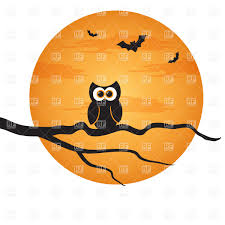 cartoon halloween background halloween background owl on branch and moon vector image 23500