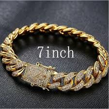 cuban link bracelet men images Uwin mens iced out 13 5mm thick heavy gold cz curb cuban link jpg