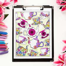 tea party coloring page latest tea party kids coloring page with