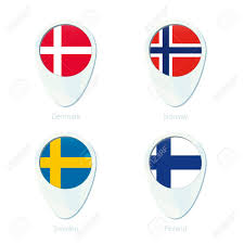 Flag Sweden Denmark Norway Sweden Finland Flag Location Map Pin Icon