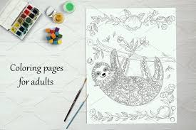 cute sloth coloring book adults illustrations creative market