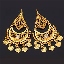 real gold earrings indian style dangle earring 18k real gold plated earrings molloo