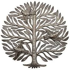 Metal Tree Wall Decor Amazon Com Garden Tree Of Life Haitian Recycled Oil Drum Wall Art