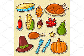 set of happy thanksgiving day objects and icons objects