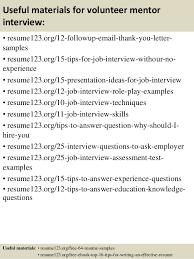 Volunteer Resume Sample by Top 8 Volunteer Mentor Resume Samples