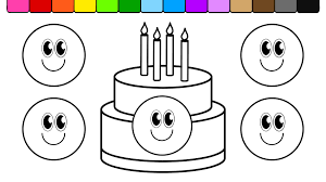 learn colors for kids and color this smiley face birthday cake