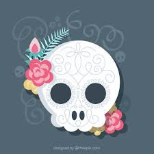 ornamental skull with flowers in flat design vector free