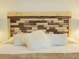 faux brick wall unusual headboard made from pallet painted with