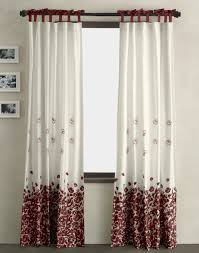 Gray And Red Curtains White Polished Window Using White Cafe Curtain Combined With Blue
