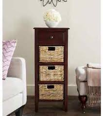 tall end tables side nightstand bedside wood cherry wicker baskets