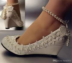princess wedding shoes new sweet pearl ankle chain pearl flower white princess wedding