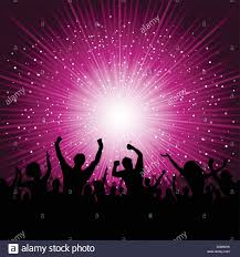 party silhouette silhouette of party crowd on a starburst background stock vector