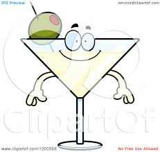 martini silhouette vector cartoon of a happy martini mascot royalty free vector clipart by