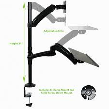 monitor and keyboard arm desk mount single fully adjustable 1 monitor keyboard stand c cl sit stand