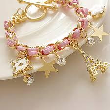 women hand bracelet images Pulseiras braided european style eiffel tower star charm bracelets jpg