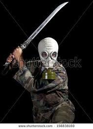 gas mask costume villain wearing gas stock photo 156838169