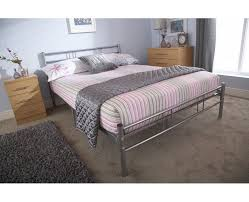 Morgan High Quality Metal Bed Ft  Ft Sizes Silver Finish - High quality bedroom furniture