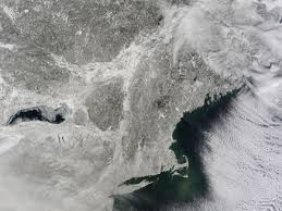 Snow Map Usa by Snow Covered Northeastern United States Nasa