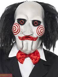 mens jigsaw saw mask adults halloween fancy dress accessory horror