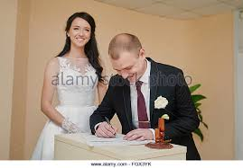 wedding registers signing wedding certificate stock photos signing wedding