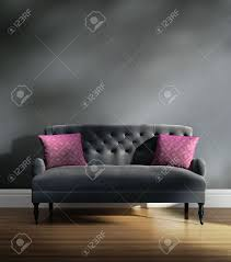 Grey Velvet Sofas Contemporary Elegant Luxury Grey Velvet Sofa With Pink Cushions
