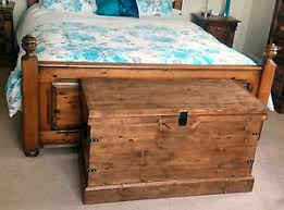 Trunk Ottoman Rustic Wooden Large Pine Blanket Box Ottoman Storage Chest Trunk