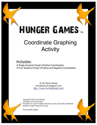 4 Quadrant Graphing Worksheets Hunger Games Coordinate Graph One Quadrant And Four Quadrant