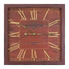 yosemite home decor 16 in square mdf wall clock in distressed red