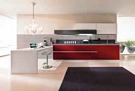 adorable modern design modern red wall kitchen with grey carpet on