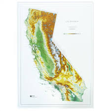 California State Map by 951 California Raised Relief Map