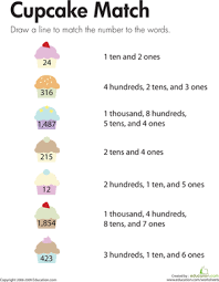 number place values cupcake match worksheet education com