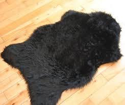 black sheepskin plain cheap fluffy rug soft faux fur fake mats