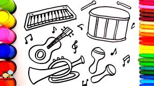learn colors for children with coloring pages musical instrument