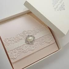 Pink Wedding Invitations Boxed Blush Pink Wedding Invitations With Lace Polina Perri Uk