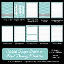 printable meal planner template editable recipe binder printables meal planning recipe zoom