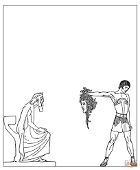 muscle coloring pages perseus drew out the gorgon u0027s head coloring page free printable