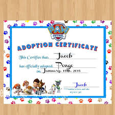 paw patrol printable puppy adoption certificate gianni