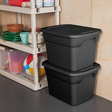 sterilite 18 gallon tote box recycled black available in case