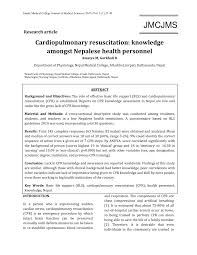 cardiopulmonary resuscitation knowledge amongst nepalese health