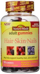 nature made hair skin nails gummies 1mg mixed berry
