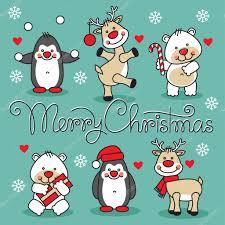 set cute christmas cartoon animals with merry christmas hand