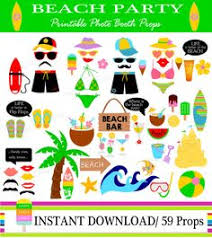 printable photo booth props summer instant download summer beach party 16 piece photo booth props