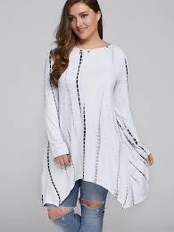 plus size blouse plus size cut out comfy asymmetrical blouse in white xl