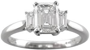 london jewellery designers emerald cut diamond three ring with emerald cut side stones