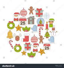 set icons merry decoration celebration stock vector
