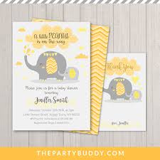 peanut baby shower peanut elephant baby shower invitation printable yellow