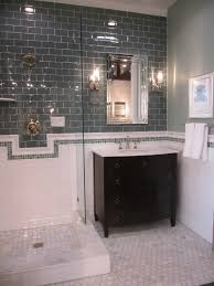 Subway Tile Designs For Bathrooms by Copy This With Grey Glass Subway On Accent Wall White Ceramic